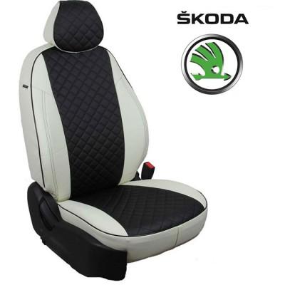 Чехлы на сиденья из экокожи Ромб для Skoda