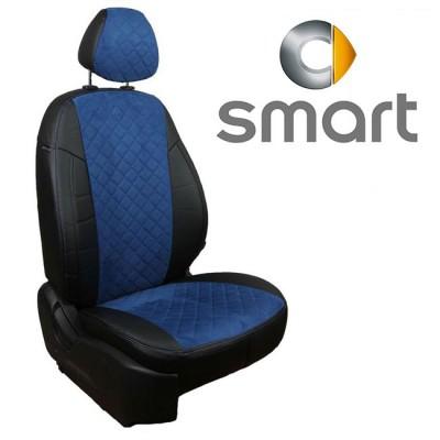 Чехлы на сиденья из алькантары Ромб для Smart